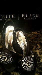 Bianco 5 New Black Usa PartyEvening SatinRose Stunning Shoes Detail e n80mNvw