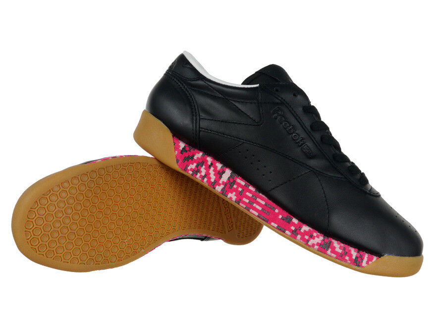 Reebok Classic Freestyle Low Old Meets New Femme Leather Sneakers Noir Chaussures