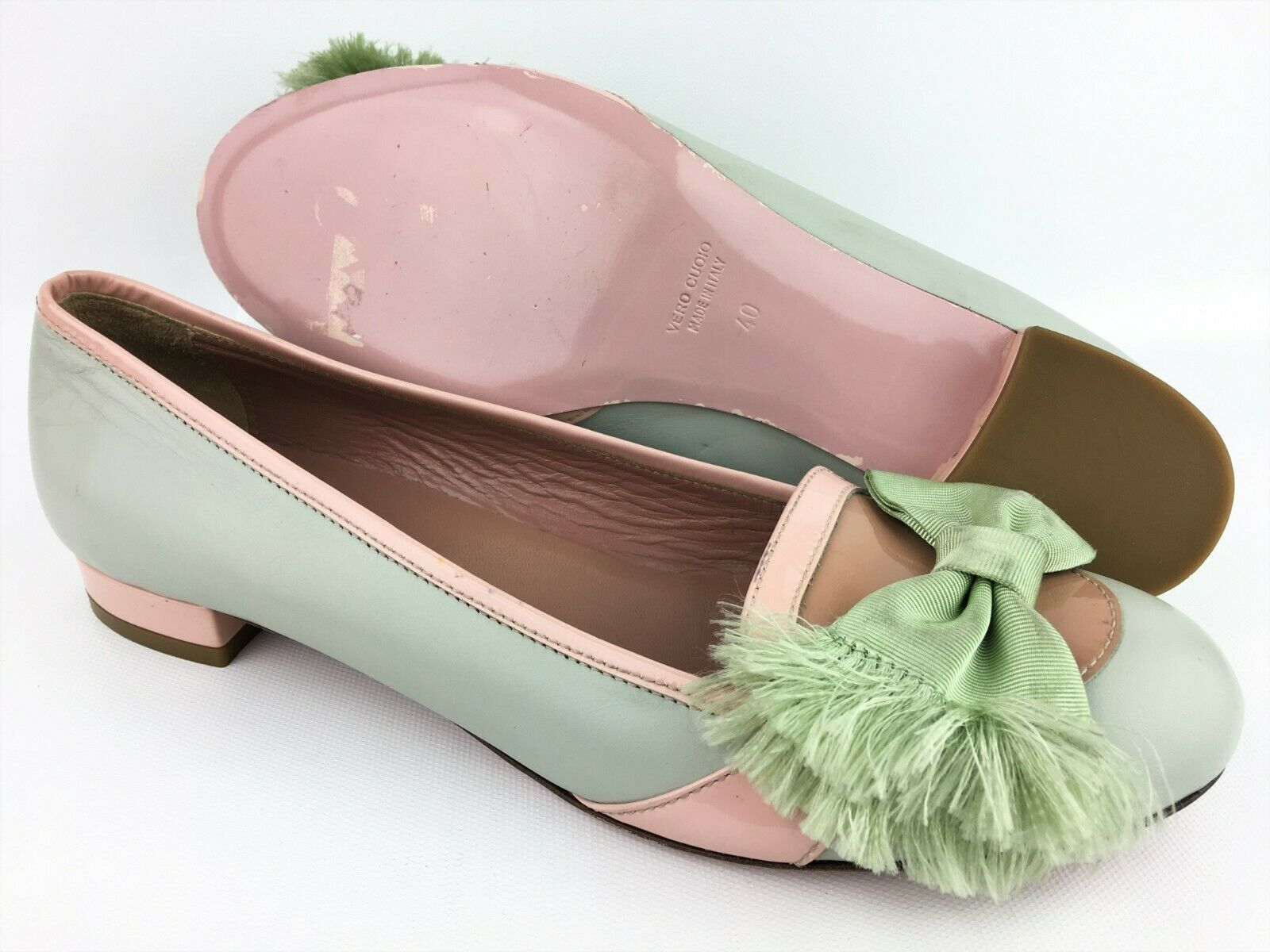 outlet in vendita RED Valentino Pale verde rosa Coloreblock Patent Leather Bow Flats Flats Flats sz  40 US 8.5  spedizione gratuita!