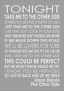 Details about Jason Derulo - The Other Side - Word Typography Words Song  Lyric Lyrics Music