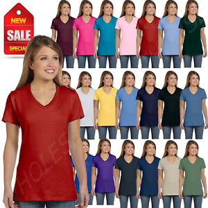 088266ea NEW Hanes Women's 4.5 oz 100% Cotton Short Sleeve nano-T V-Neck T ...