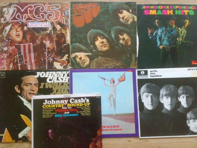 LP, 16 plader: MC5, Johnny Cash, Beatles, Rolling Ston,…