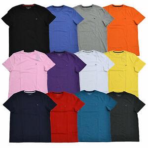 Tommy-HILFIGER-T-shirt-Girocollo-Da-Uomo-T-shirt-Classic-Fit-Manica-Corta-Camicia-Tinta-Unita