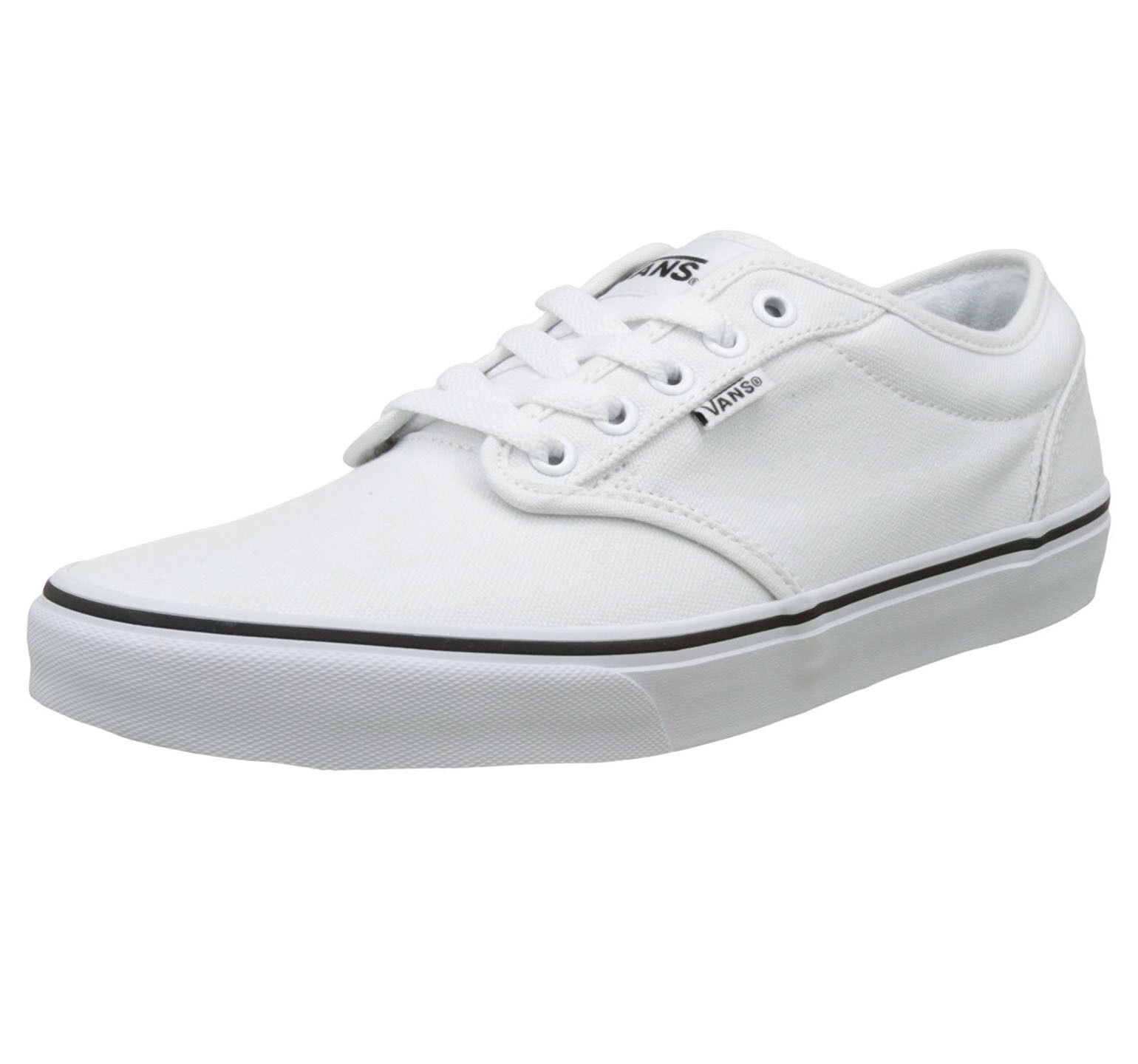 VANS Atwood Mens Canvas Skater Trainers Foxing Shoes Lace Up Plimsolls White