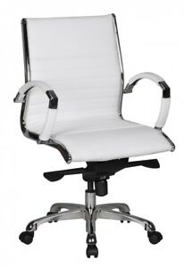 Schreibtischstuhl weiß  Bürostuhl Echtleder Schreibtischstuhl Weiß Drehstuhl Stuhl Sessel ...