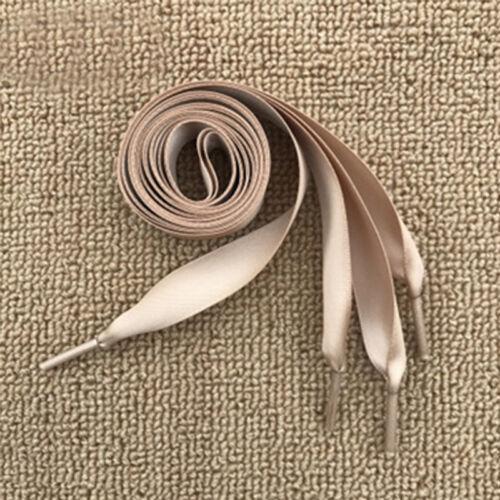 1 Pair Flat Satin Ribbon ShoelacesShoe Laces Sneaker Laces For Sport Shoes