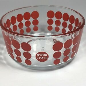 100 year Anniversary Pyrex Bowl clear with red Dots 1 Quart