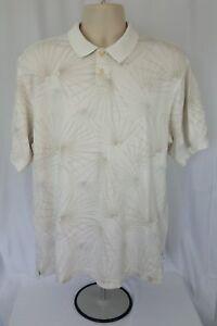 Geoffrey Beene Men's polo shirt Size L Beige Cream Print Large B17