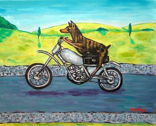 Doberman pinscher motorcycle dog art PRINTS 8x10 animals artist impressionism