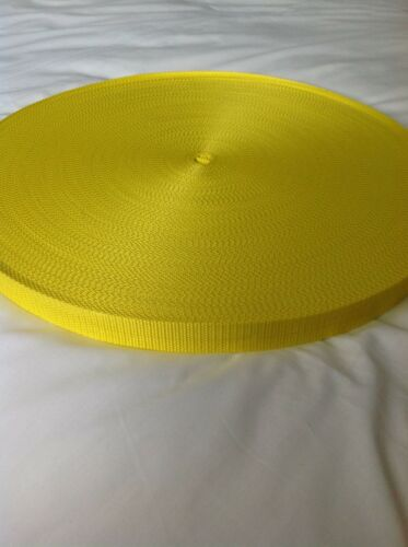 Yellow 25mm 1 inch Nylon Webbing Tape x 10 meters