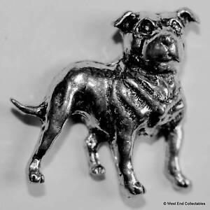 Staffordshire Bullterrier Hund Zinn Brosche Britisch Hand Gefertigt- Staffy