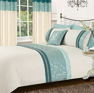 Teal Blue Stylish Floral Diamante Faux Silk Duvet Cover
