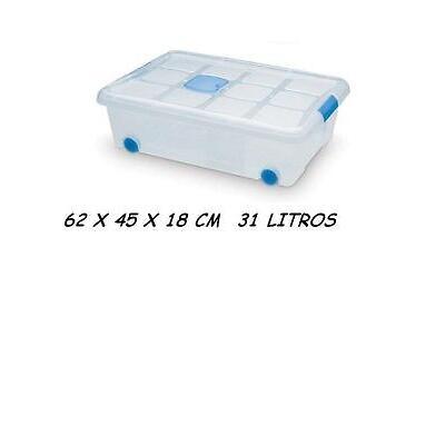 Caja de ordenación 31 litros 62X45X18 CM CON RUEDAS