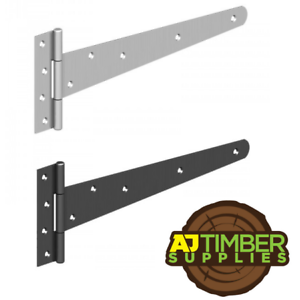 "PAIR of 12/"" 300mm Strong Tee Hinges Heavy Duty Gate Shed Garden Galv or Black"