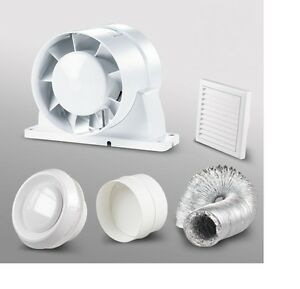In line shower bathroom extractor fan loft kit 150mm 6 ebay for 8 bathroom extractor fan