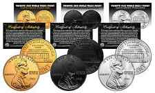 TRIBUTE 1943 WWII Steel Penny Coins 3 Versions BLACK RUTHENIUM, 24K GOLD & SIVER
