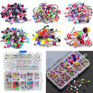 60x-Wholesale-Lots-Mixed-Lip-Piercing-Body-Jewelry-Barbell-Rings-Tongue-Ring-hf