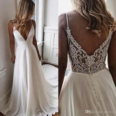 Sexy A Line V Neck Wedding Dress Spaghetti Straps Delicate Lace Back Bridal Gown Ebay