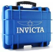 New Invicta 8 Eight Slot Blue/Gry Impact Resistant Dive Collector Watch Box Case