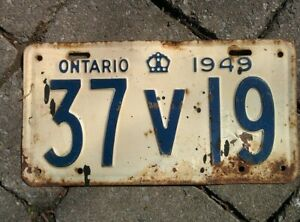 Vintage 1949 Ontario ON Canada Vehicle License Plate White Blue  ~ POOR 37 v 19