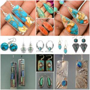 Vintage-925-Silver-Turquoise-Earrings-Ear-Hook-Women-Wedding-Dangle-Drop-Jewelry