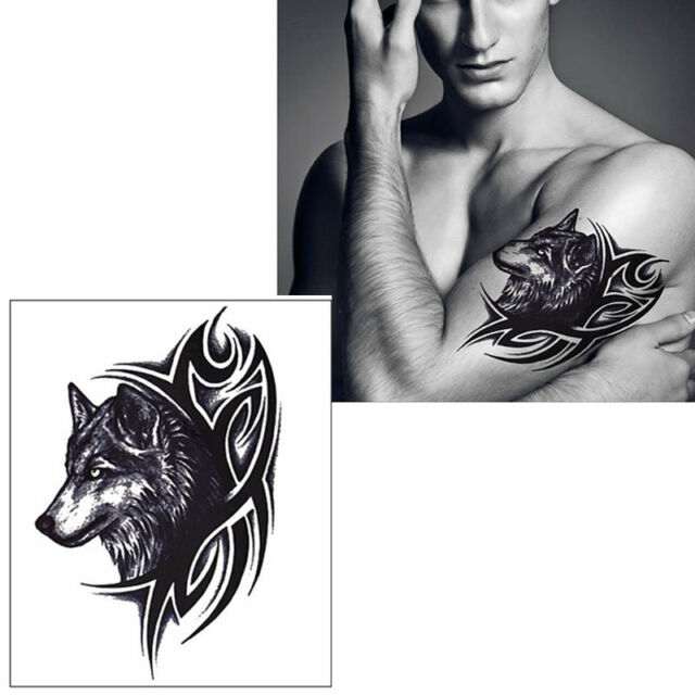 Removable Wolf King Tattoo Stickers Waterproof Temporary Body Art ...