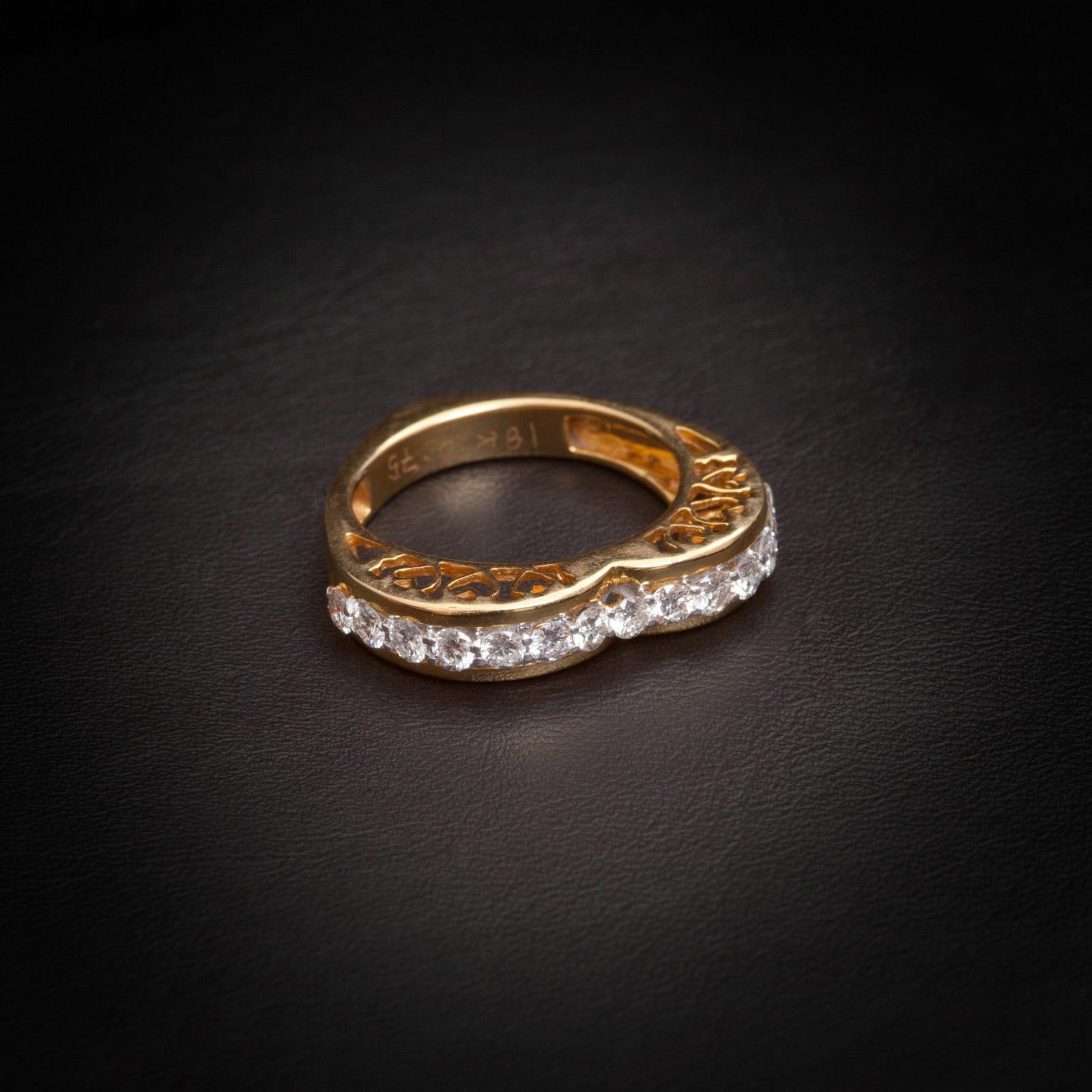 Pave 0.75 Cts F VS1 Natural Diamonds Engagement Ring In Solid Certified 14K gold