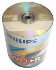 100 PHILIPS Blank DVD+R Plus R Logo Branded 16X 4.7GB Media Disc + 100 Sleeves