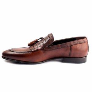 Handmade-Men-039-s-Genuine-Brown-Leather-Loafers-amp-Slip-Ons-Tassles-Formal-Shoes
