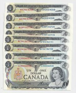 4-Pairs-of-Consecutive-1973-1-Bank-of-Canada-Notes-AU-UNC