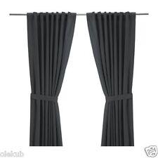 "IKEA RITVA Pair of Curtains with Tie - Backs 2 Panels Gray  57 "" x 98 """