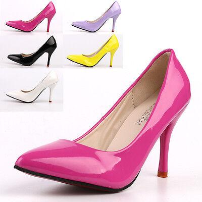 Women Candy Color Work Shoes Stiletto High Heel Cusp Pumps Business Shoes