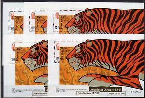 Macau-5-x-Block-50I-Uberdruck-Block-Jahr-des-Tigers-504