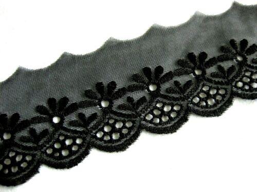 5 cm breit  S41 schwarz,ca Feine Spitze mit Stickerei