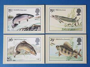Set-of-4-PHQ-Stamp-Postcards-Set-No-65-British-River-Fishes-1983-CN1