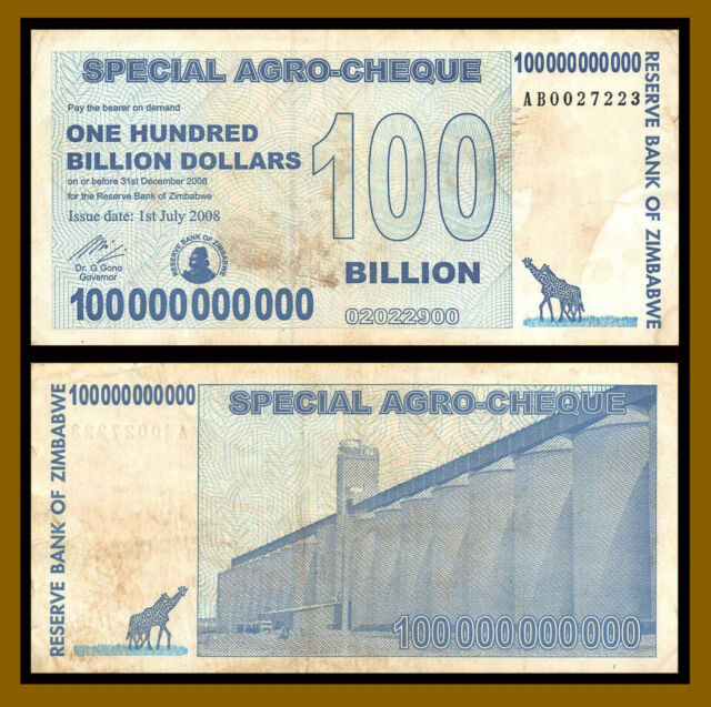 ZIMBABWE 100000000000 x 5 Pcs 100 Billion DOLLARS P64 2008 ZEBRA UNC Trillion Sr