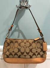 "Coach ""Signature C"" Logo Khaki Brown Fabric Tan Leather Small Shoulder Bag 6094"