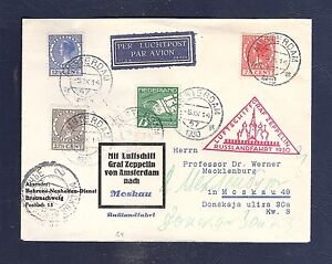 ZEPPELIN cover Netherlands ROLTANDING 1930 RUSSLAND FAHRT to Moskou