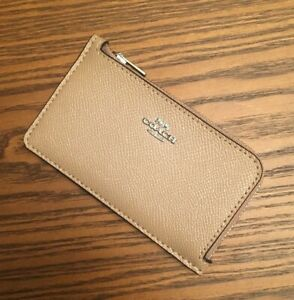 COACH-Coated-Canvas-Signature-Zip-Card-Case-Taupe-Sliver-Brand-New