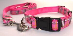 Doppelpack-4Teile-Hundeleine-Halsband-Nylon-rosa-karo-200cm-Groesse-M