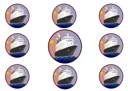 Ship Boat Cruise Silhouettes Edible A4 PREMIUM ICING SHEET  Cake Topper 16