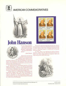 155-20c-John-Hanson-1941-USPS-Commemorative-Stamp-Panel