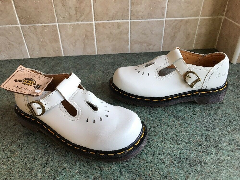 Bnwt! Dr. Martens White Leather T-Bar Flat Shoes Sz UK3 *Made In England