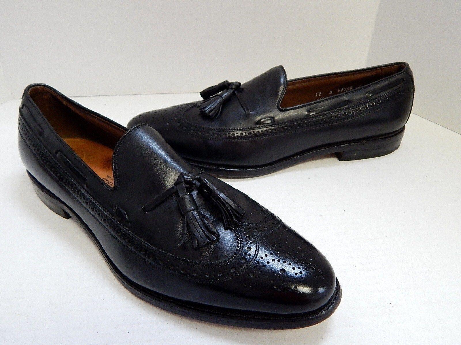 Allen Edmonds Manchester 12 B Nero Pelle Wing Tip Dress Loafers  A