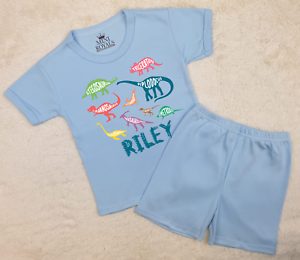 Personalised Dinosaur Name Kids Pyjamas Children/'s Pjs Birthday Gifts Boys Girls