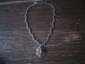 prächtige Trachtenkette Silberkette Collier Dirndl 835er Silber Rote Koralle