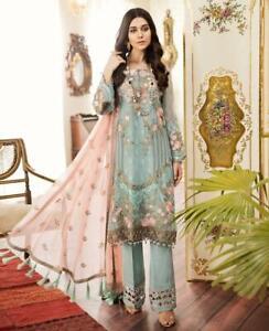 Indian-Pakistani-Salwar-Kameez-Suit-Dress-Party-Wedding-Designer-Mint-Peach