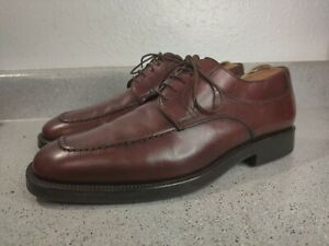 Santoni-Nuvola-Dress-Shoes-Sz-8-D-Burnished-Burgundy-Brown-Leather-Italy-EUC