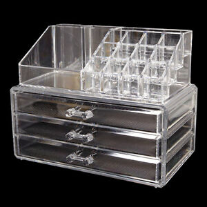 Makeup Cosmetics Jewelry Organizer Clear Acrylic w 3 Drawers Box