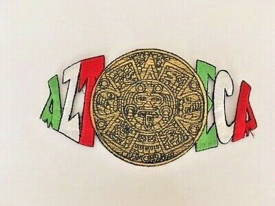 Azteca Aztec Calendar Patch White Chicano Art La Raza Aztlan Lowrider OG Homies
